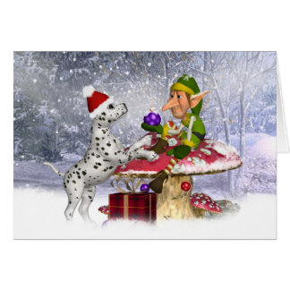 carte de vacances de Dalmate et d'elfe - paysage