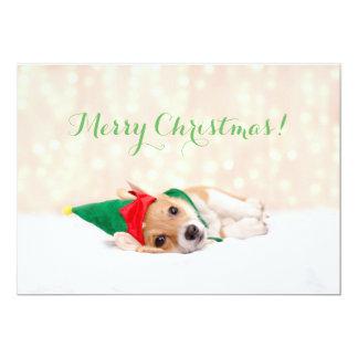 Carte de vacances de Noël d'Elf de corgi
