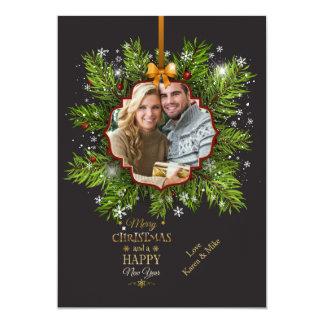 Carte de vacances de photo d'ornement de Noël Carton D'invitation 12,7 Cm X 17,78 Cm