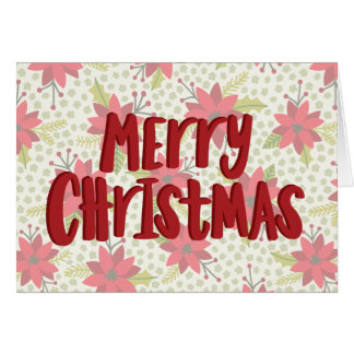 Carte de vacances de poinsettia de Joyeux Noël