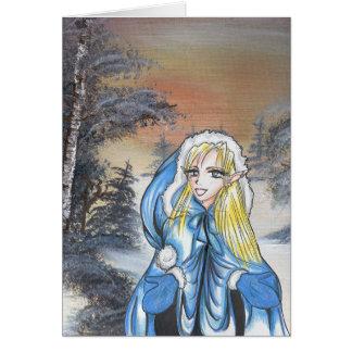Carte de vacances d'Elf d'Anime