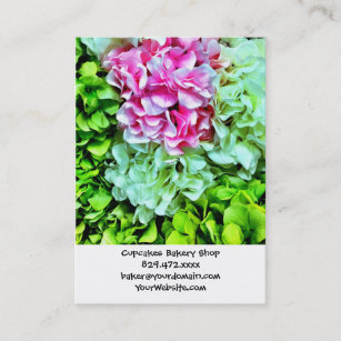 Carte De Visite Belles Fleurs Vertes Crmes Roses Dhortensia