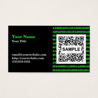Carte de visite binaire de code de QR - vert