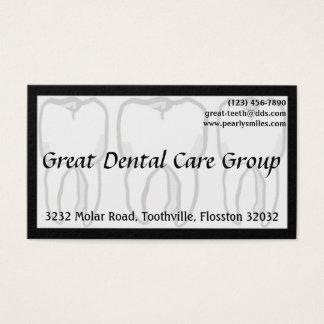 Carte de visite blanc de dentiste de trois dents
