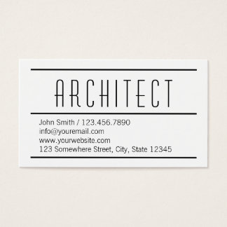 Carte de visite blanc simple moderne d'architecte