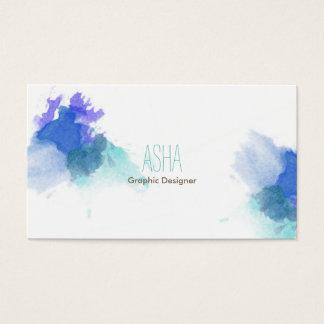 Carte de visite bleu d'aquarelle