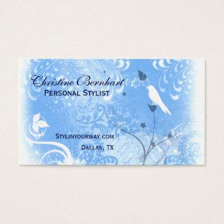 Carte de visite bleu et blanc élégant de Flourish