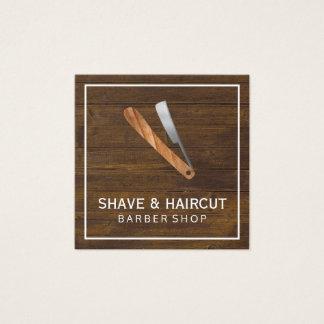 Carte De Visite Carré Boîtier blanc en bois rustique de rasoir