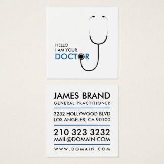 Carte De Visite Carré Bonjour je suis votre docteur médecin généraliste