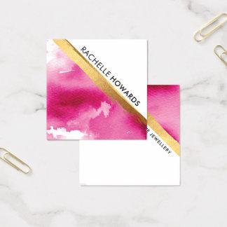 Carte De Visite Carré Brosse MINIMALE MODERNE d'or d'aquarelle de rose