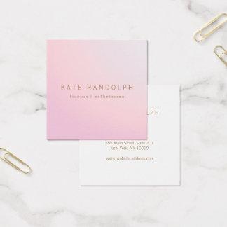 Carte De Visite Carré Carré rose simple d'Esthetician d'Ombre de lavande