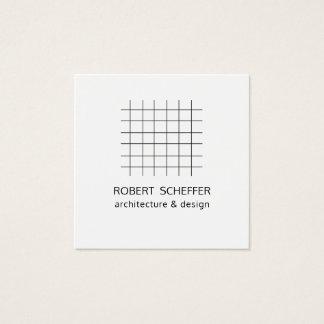 Carte De Visite Carré Concepteur blanc moderne minimaliste d'architecte