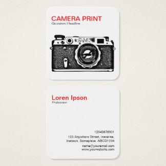 Carte De Visite Carré Copie d'appareil-photo - rouge + Noir sur le blanc