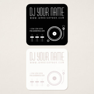 Carte De Visite Carré Couverture musicale réglée de modèle du DJ