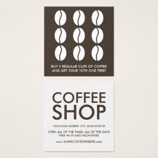 Carte De Visite Carré fidélité de grains de café
