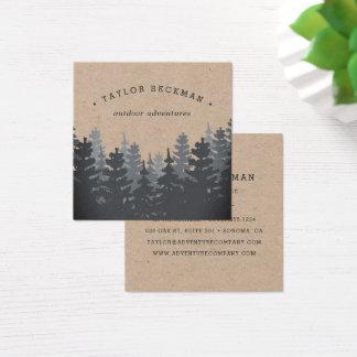 Carte De Visite Carré Forêt   Papier d'emballage d'hiver