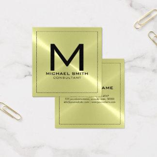 Carte De Visite Carré Métal inoxydable moderne élégant de monogramme