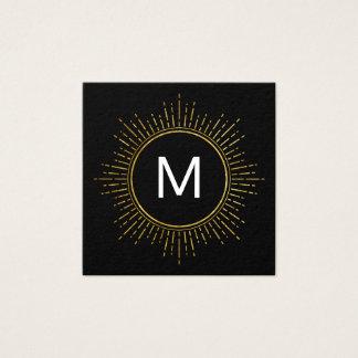 Carte De Visite Carré Monogramme avec les éléments lumineux par or de