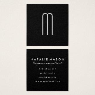 Carte De Visite Carré Monogramme minimaliste moderne sur le noir