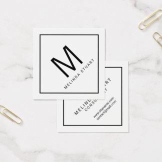 Carte De Visite Carré Monogramme moderne noir et blanc