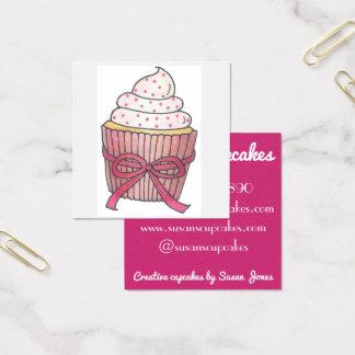 Carte De Visite Carré Petits gâteaux roses de petit gâteau cuits au four