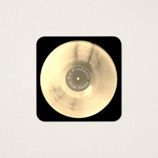 Carte De Visite Carré Production du DJ de disque de disque vinyle d'or