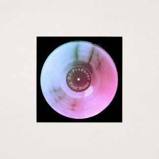 Carte De Visite Carré Production métallique bleue du DJ de disque de