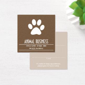 Carte De Visite Carré rappel de rendez-vous de patte d'animal familier