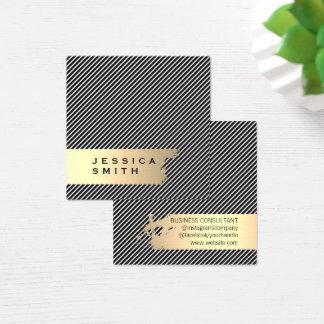 Carte De Visite Carré Rayures balayées par or élégant/noir