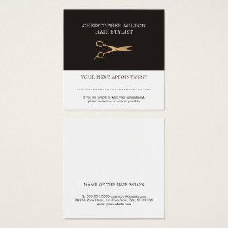 Carte De Visite Carré Rendez-vous gris élégant de styliste en coiffure