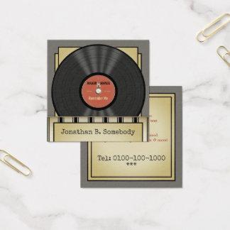 Carte De Visite Carré Rétro disque vinyle de roche