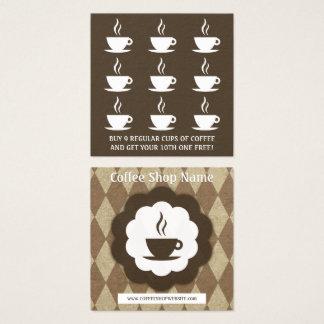 Carte De Visite Carré rétro poinçon de fidélité de diamant de café