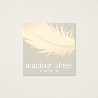 Carte De Visite Carré Salon de beauté beige de Taupe de plume élégante