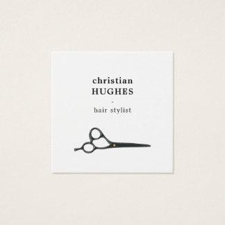 Carte De Visite Carré Styliste en coiffure blanc noir élégant moderne de