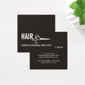 Carte De Visite Carré Styliste en coiffure blanc noir élégant simple de
