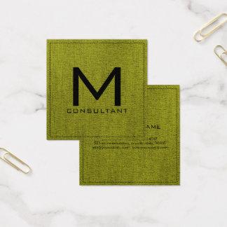 Carte De Visite Carré Toile verte moderne élégante de monogramme