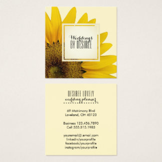 Carte De Visite Carré Tournesol jaune du wedding planner | floral