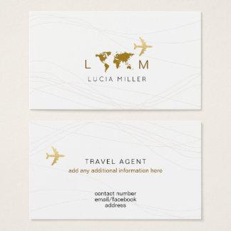 carte de visite chic pour un agent de voyage