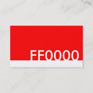 Carte De Visite Code Couleurs Rouge HTML FF0000