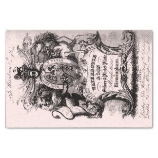 Carte de visite commercial de XVIIIème siècle Papier Mousseline