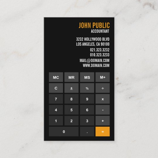 Carte De Visite Conseiller Financier Calculatrice Comptable