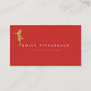Carte De Visite Danseur Studio Silhouette Minimaliste Rouge Or