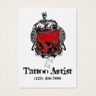 Carte de visite d'artiste de tatouage de crâne