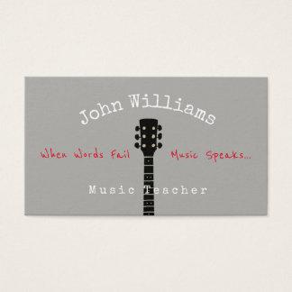 carte de visite de gris de professeur de musique +