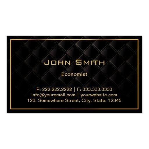 Carte de visite de luxe foncé d'économiste de fron