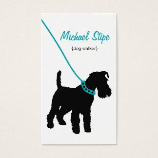 Carte de visite de marcheur de chien (sarcelle