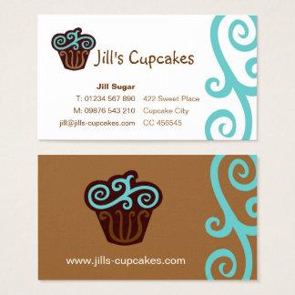Carte de visite de petit gâteau (bleu)