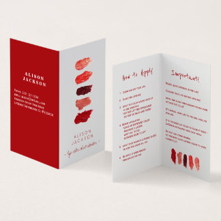 Carte de visite de swatces de couleur de lèvre de