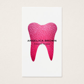 Carte de visite dentaire de scintillement rose