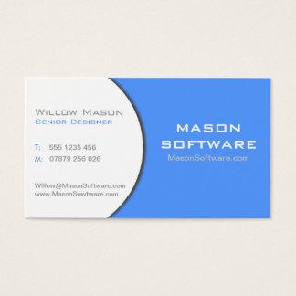 Carte de visite d'entreprise blanc et bleu de
